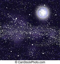 vecteur, lune, sky., étoilé, fond, voie lactée, illustration