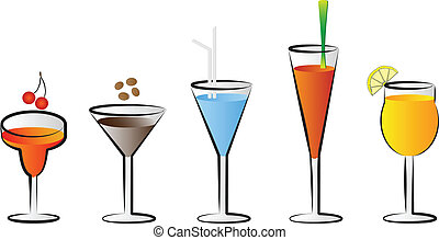vecteur, lunettes, cocktail, illustratio