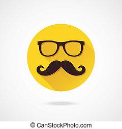 vecteur, lunettes, moustache, icône