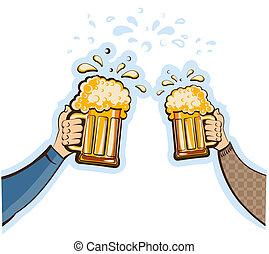 vecteur, lunettes, oktoberfest, isolé, homme, blanc, beer., conception, illustration, mains