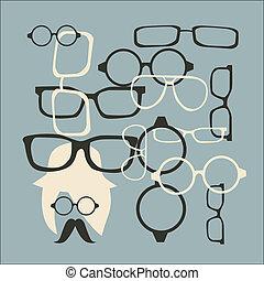 vecteur, lunettes soleil, chapeau, moustache
