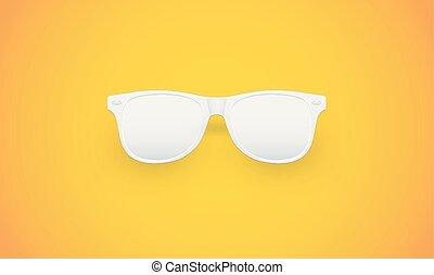 vecteur, lunettes soleil, illustration, fond, jaune, vide, blanc