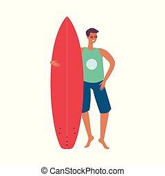 vecteur, lunettes soleil, planche surf, homme, beau
