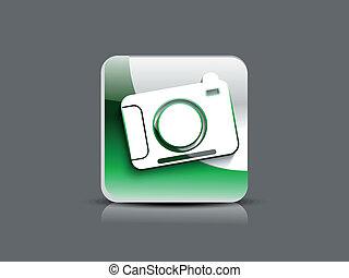 vecteur, lustré, icône, résumé, appareil photo