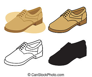 vecteur, mâle, chaussure, 4