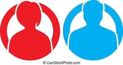 vecteur, mâle, femme, avatar, icônes