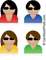 vecteur, mâle, femme, icônes