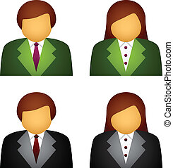vecteur, mâle, femme, icones affaires