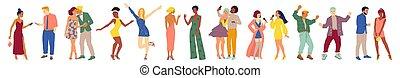 vecteur, mâle, isolé, illustration, femme, dessin animé, partie., caractères, groupe