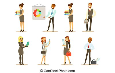 vecteur, mâle, ou, fonctionnement, employés, ensemble, bureau affaires, femme, travail, directeurs, gens, caractères, illustration