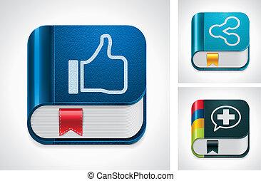 vecteur, média, partage, social, icône