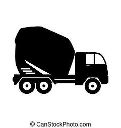 vecteur, mélangeur concret, camion, icône, graphique