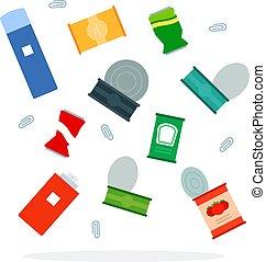 vecteur, métal, déchets ménagers, plat, isolé, tri,...