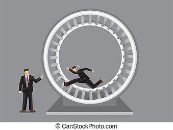 vecteur, métaphore, roue, hamster, humain, illustration, rat, employé, course, courant, dessin animé