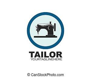 vecteur, machine, couture, logo, icône