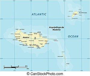 vecteur, madère, portugal, archipel, atlantique, carte, ...