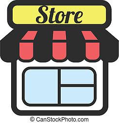 vecteur, magasin, supermarché, stockage
