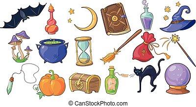 vecteur, magie, chauve-souris, sortilège, potion, balai, ensemble, livre, magicien, citrouille, poitrine, cristal, halloween, chapeau, fond, signes, illustrations, sablier, boule blanche