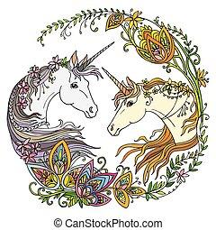 vecteur, magie, coloré, unicorns, fleurs, illustration