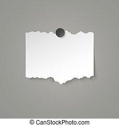 vecteur, magnet., déchiré, attaché, bords, papier, illustration, blanc, morceau