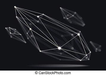 vecteur, maille, champ, abstraction, résumé, style, réaliste, connexions, points, technologie, dimensionnel, lignes, treillis, dynamique, effect., forme, conception, numérique, profondeur, science, polygonal, 3d