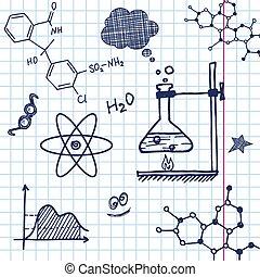 vecteur, main, chimie, dessiner, éléments