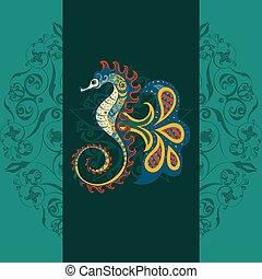 vecteur, main, dessiné, décoratif, sea-horse.