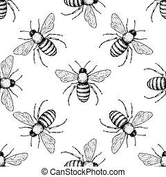 vecteur, main, dessiné, pattern., abeille, insecte, seamless, arrière-plan.
