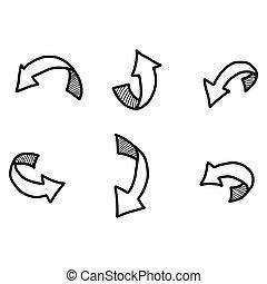 vecteur, main, dessiné, shadow., doodles, flèche, courbé, illustration