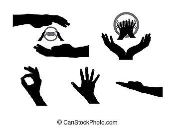 vecteur, main., ensemble, noir, illustration