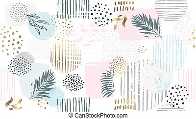 vecteur, main, floral, dessiner, pattern., seamless