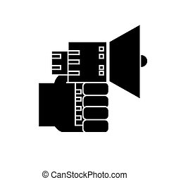 vecteur, main, fond, haut-parleur, icône, isolé, signe, illustration