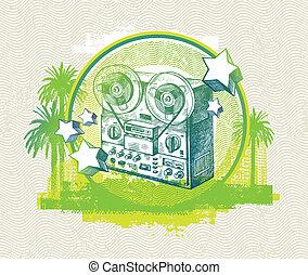 vecteur, main, magnétophone, résumé, dessiné, musical, illustration, retro