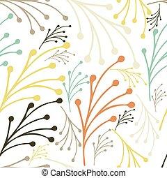 vecteur, main, modèle floral, printemps, fond, été, leaves., dessiné, pattern., seamless, illustration