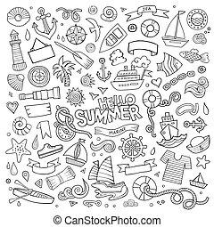 vecteur, main, symboles, objets, nautique, marin