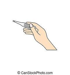 vecteur, main, tenue femme, thermomètre, électronique