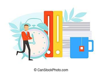 vecteur, mains, illustration, homme affaires, gestion, minuscule, pousser, temps, concept, plat, horloge