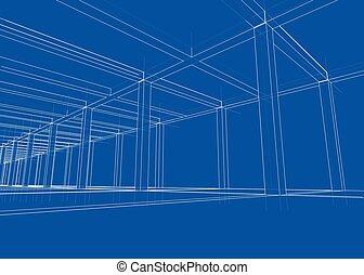 vecteur, maison, construction., dessin, sous