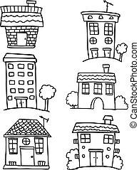vecteur, maison, ensemble, illustration, griffonnage