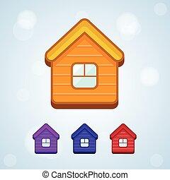 vecteur, maison, ensemble, isolé, icône