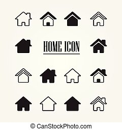 vecteur, maison, icon., ensemble, illustration.