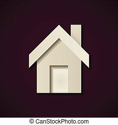 vecteur, maison, papier, conception, gabarit, icône