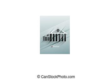 vecteur, maison, papier, conception, icône, 3d