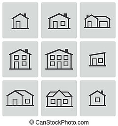 vecteur, maisons, ensemble, noir, icônes