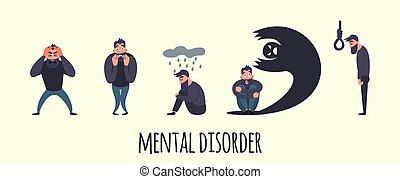vecteur, maladie, groupe, mental, gens, suicide, hommes, psychiatrique, problem., disorder., autre, illustration, phobie, peur, inquiétude, désordre, ou, psychologie