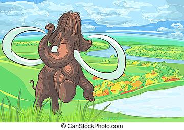 vecteur, mammouth, paysage rivière