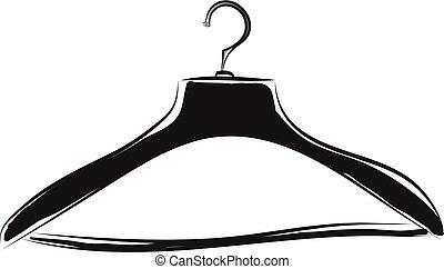 vecteur, manteau noir, fond blanc, couleur, cintre, ...