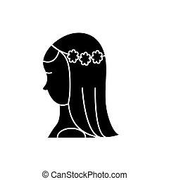 vecteur, mariée, fond, icône, isolé, signe, illustration