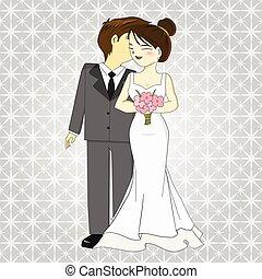 vecteur, mariée, palefrenier, dessin animé