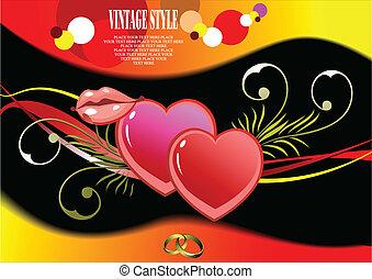 vecteur, mariage, salutation, malade, card.